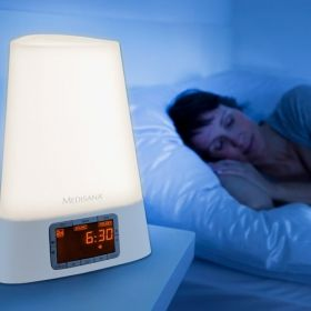 Радиочасовник със симулатор на изгрев Medisana Wake-up Light White 450