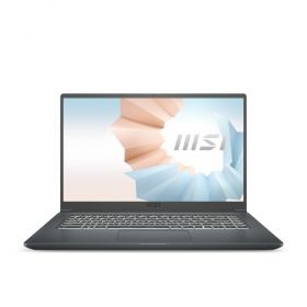 "Лаптоп MSI Modern 15 A11M, Intel EVO i5-1135G7, 15.6"" FHD 1920x1080, AG, IPS-Level, Intel Iris Xe graphics, RAM 8GB (1x8) DDR4 3200, 512GB PCIe Gen3 SSD, 1x M.2 free, Thunderbolt 4, Intel Wi-Fi 6, BT5.1, backlight KB (White), NO OS, 2Y, Carbon Gray, 1.6 k"