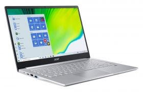 Лаптоп Acer Swift 3, SF314-42-R988, AMD Ryzen 5 4500U (2.3GHz up to 4.0GHz, 8MB), 14'' FHD (1920x1080) IPS AG, 8GB LPDDR4 4266MHz, 512GB NVMe SSD, Radeon Graphics, Wi-Fi 6ax, BT, KB Backlight, Win 10 Home, 1.20 kg, Pure Silver