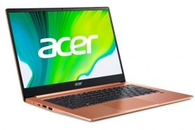 "Лаптоп Acer Swift 3 SF314-59-3628, Intel Core i3-1115G4, 14"" IPS FHD (1920x1080) AG, HD Cam, 8GB DDR4, 256GB PCIe NVMe SSD, Intel Iris Xe Graphics, Wi-Fi 6 AX201, BT 5.0, Backlit Keyboard, MS Win 10 Home, Melon Pink"